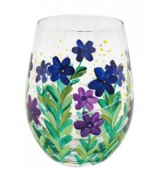 this stemless glass is perfect for providing a Spring inspired feel to your tipple