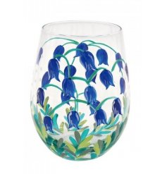 A stemless glass decorated with a delightful hand painted bluebells print