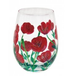 Covered with a delightful Red Poppy inspired hand painted design, this stemless glass is perfect for any beverage