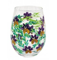 this hand painted stemless glass is sure to add a hint of Spring to any garden party or evening tipple