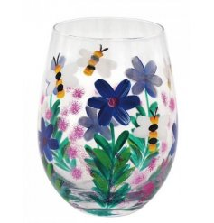 A gorgeously detailed hand painted Stemless Glass