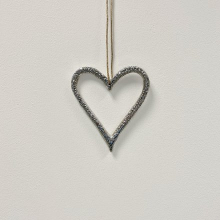 Heart Hanger, Silver 10cm