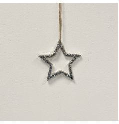 A stylish metal hanging star decoration with a textured finish and rustic jute string hanger.