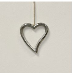 A fine quality, silver hanging heart decoration with a textured surface finish. Complete with jute string hanger.