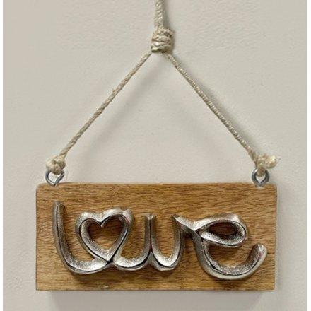 Love Wood Plaque, 18cm