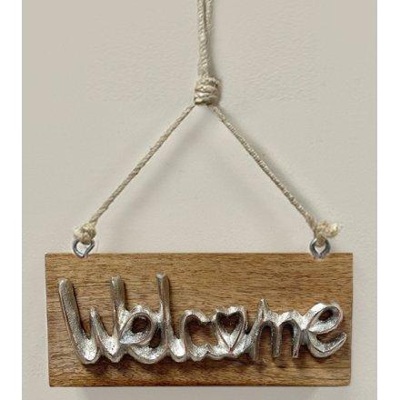 Welcome Wood Plaque, 18cm