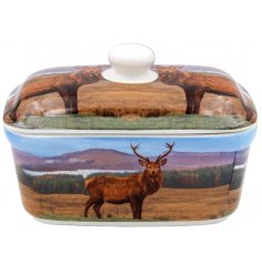 A ceramic butter dish decorated with a printed Stag image