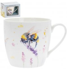 A delightful little Fine China Mug displayed with a charming watercolour inspired Bumble Bee print
