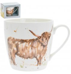A delightful little Fine China Mug displayed with a charming watercolour inspired Highland Cow print
