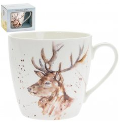 A delightful little Fine China Mug displayed with a charming watercolour inspired Stag print