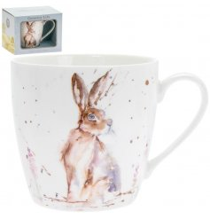 A delightful little Fine China Mug displayed with a charming watercolour inspired Hare print
