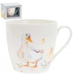 A delightful little Fine China Mug displayed with a charming watercolour inspired duck print