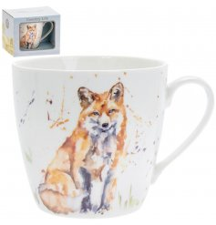 A delightful little Fine China Mug displayed with a charming watercolour inspired fox print