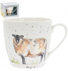 A delightful little Fine China Mug displayed with a charming watercolour inspired Sheep print