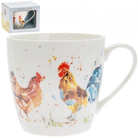 Country Life Mug, Cockerel & Hen