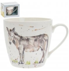 A delightful little Fine China Mug displayed with a charming watercolour inspired donkey print