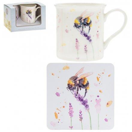 Country Life Mug & Coaster Set, Bumble Bee