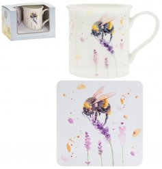 A fine china mug and cork based coaster set, perfectly decorated with a charming bumble bee decal