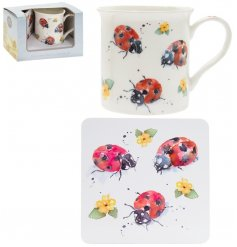 A fine china mug and cork based coaster set, perfectly decorated with a charming ladybird decal