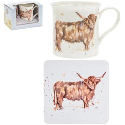 Country Life Mug & Coaster Set, Highland Cow