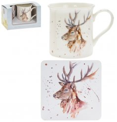 A fine china mug and cork based coaster set, perfectly decorated with a stunning stag decal