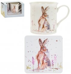 A fine china mug and cork based coaster set, perfectly decorated with a charming Hare decal