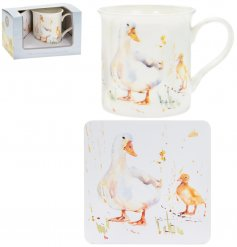 A fine china mug and cork based coaster set, perfectly decorated with a sweet little duck decal