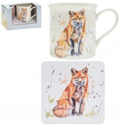 A fine china mug and cork based coaster set, perfectly decorated with a sweet sitting fox decal