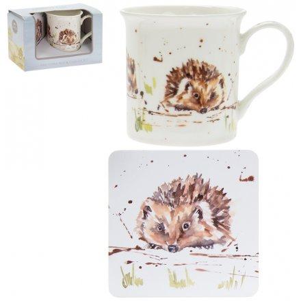 Country Life Mug & Coaster Set, Hedgehog