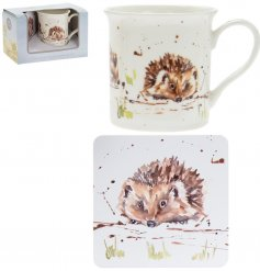 A fine china mug and cork based coaster set, perfectly decorated with a sweet peeping hedgehog decal