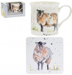 A fine china mug and cork based coaster set, perfectly decorated with a sweet sheep decal