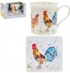A fine china mug and cork based coaster set, perfectly decorated with a bold and colourful cockerel decal