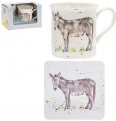 A fine china mug and cork based coaster set, perfectly decorated with a charming Donkey decal