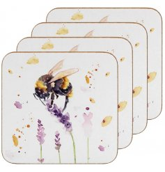 Sure to bring a Spring inspired touch to your kitchen or dining areas, a set of Bumble Bee printed coasters