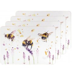 Sure to bring a Spring inspired touch to your kitchen or dining areas, a set of Bumble Bee printed placemats