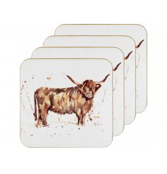 A set of cork based coasters, each detailed with a watercolour inspired Highland Cow print