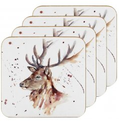 A charming themed set of 4 cork based coasters, each decorated with a watercolour inspire stag Illustration
