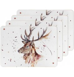 A charming themed set of 4 cork based placemats, each decorated with a watercolour inspire stag Illustration