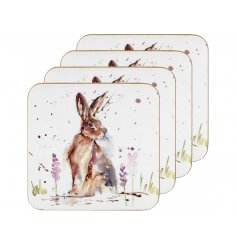 A charmingly themed Watercolour Hare illustrated set of coasters