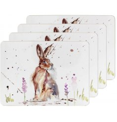A set of 4 cork based placemats, each decorated with a delightful watercolour inspire Hare Illustration