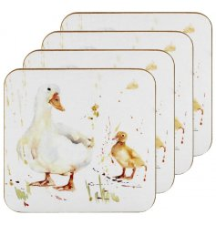 A set of 4 cork based coasters, each decorated with a delightful watercolour inspire Duck Illustration