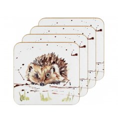A charming set of cork based coasters, each decorated with a delightful watercolour inspired illustration