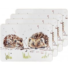 A charming set of cork based placemats, each decorated with a delightful watercolour inspired illustration
