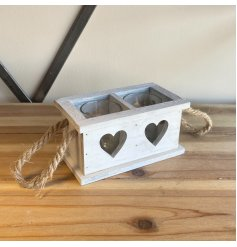 Perfect for providing a cosy candle light in any home space, a wooden tray set with 2 candle spaces