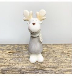 A sweet ceramic reindeer figure with a grey colour tone and charming smile to complete his look