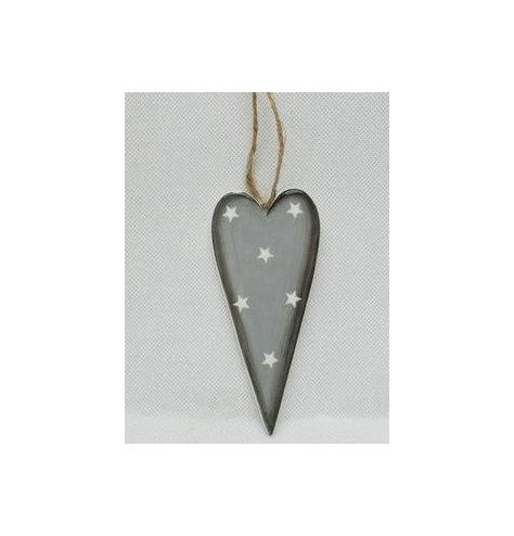 A chic and stylish heart shaped hanging decoration with a grey tone and starry print
