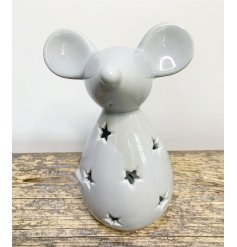 A charmingly simple ceramic mouse decoration with a sleek grey glaze and cut star decal