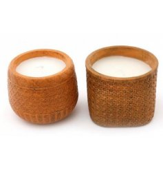 these cement based candle pots feature terracotta colour tones and rattan looking embossments