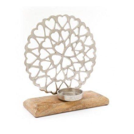 Decorative Metal Heart Tlight Holder, 25cm
