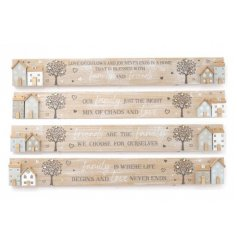 A distressed mix of wooden plaques, each set with a house scene and tree to feature on the front